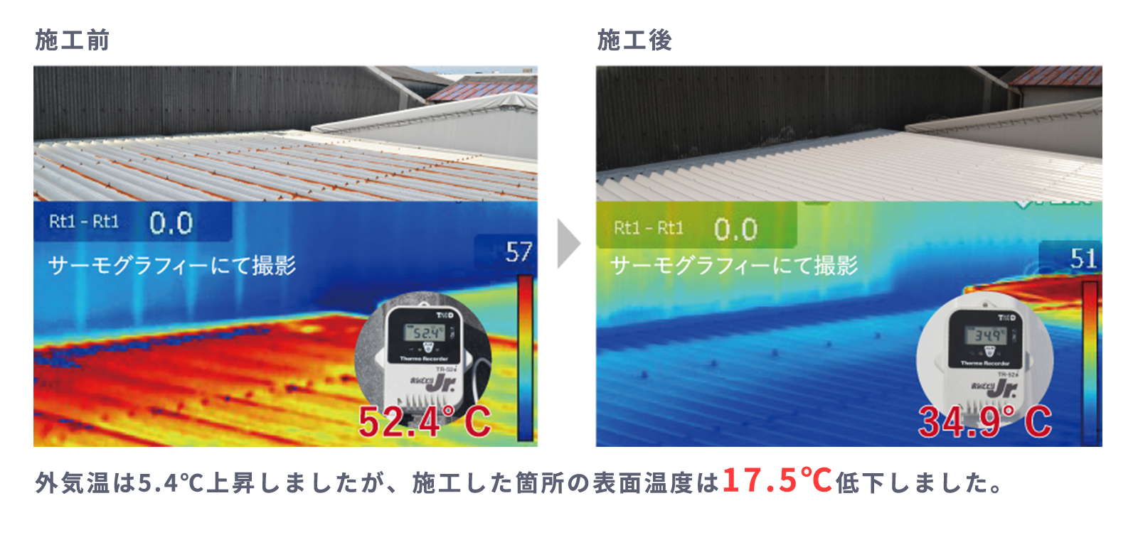 特殊遮熱無機顔料の使用前、使用前の結果